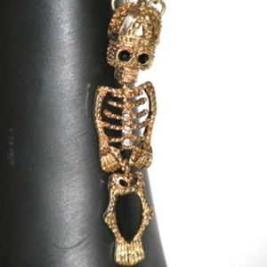 Jewelry - NEW Gold Tone Skeleton Crown Necklace Pendant Chai